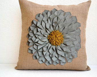 Felt Flower Pillow, Burlap Pillow Cover, Grey Felt Flower, Gray Flower, Large Felt Flower, Dahlia Felt Flower on Burlap, Mum Flower Pillow