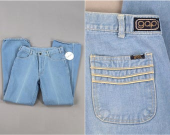 Vintage 1970s GAP Jeans / 70s Bell Bottom Boot Cut High Waisted Jeans / Washed Light Blue