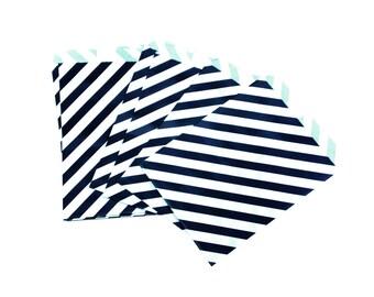 10 pcs Black & White Diagonal Stripe Treat Paper Bags for Birthday Wedding Baby Shower Bachelorette Party Favors