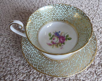 Vintage VICTORIA C & E Bone China Teacup and Saucer Circa 1930s Mint Green Floral and Gold