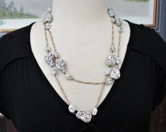 Gorgeous Vintage Italian Flapper Length Venetian Glass Bead Necklace White Aventurine Gold Black Fleck Goldtone Links