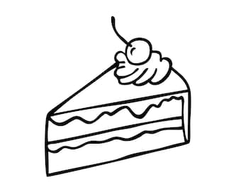 Slice of Cake Illustration - Black Line Vector Drawing - Cherry Cream Pie