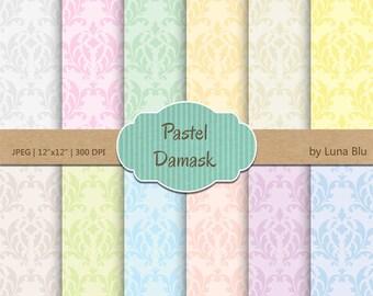 """Damask Digital Paper: """"Pastel Damask"""" soft pastel digital paper, damask patterns, for scrapbooking, cardmaking, crafts"""