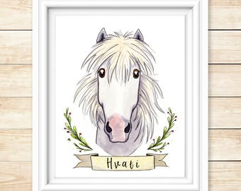 Horse Portrait Horse Lover Gift Equestrian Illustration Painting Custom Equine Portrait Illustrated Horse Painting Portrait Pony Lover Gift