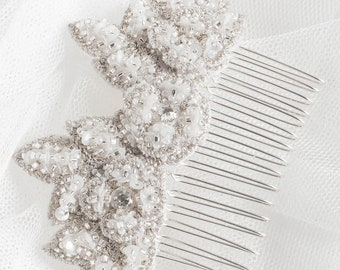 ZAHARAH Comb Silver Flower Bridal Jewellery, Wedding Ivory Floral Vintage Inspired (#305)
