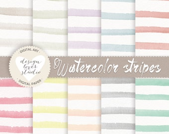 Watercolour Stripes Digital Papers, watercolor digital paper, watercolour pastel, digital papers, watercolour papers