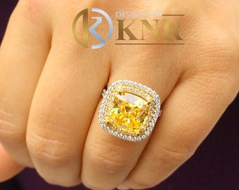Huge Women's 14k solid white and yellow gold cushion cut yellow topaz and natural diamond engagement ring Bridal Wedding Halo 6.50ctw