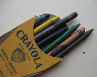 Vintage CRAYOLA Crayon 8 box, 1950's  FREE SHIPPING