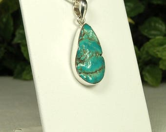 Turquoise Pendant, Rich Blue Green, Large Teardrop, Natural Nugget, Pebbly Surface, Sterling Silver, Natural Turquoise, December Birthstone