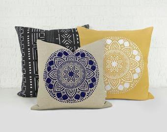 18x18 or 20x20 Personalized Mandala Pillow Case | Custom Medallion Indian Inspired Decorative Throw Cushion Cover | Ethnic Boho Decor