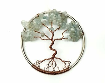 Aquamarine Gemstone Tree of Life/  Window or Wall Ornament/  Gift Idea for Her/ Housewarming Gift/ March Birthstone/ March Birthday Gift