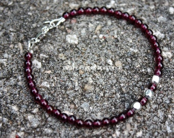 Garnet And Sterling Silver Bracelet - Beaded Gemstone Bracelet - January Birthstone Bracelet - 2nd Anniversary - Minimalist - Two Feathers