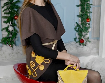Anette/womens leather backpack/leather backpack/genuine leather/yellow backpack