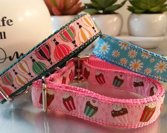 "3/4 ""Hot Air Balloons, Daisy's and Cupcakes Puppy Collar, Small Dog Collars ,Metal Buckle, Plastic Buckle 5/8"" wide"
