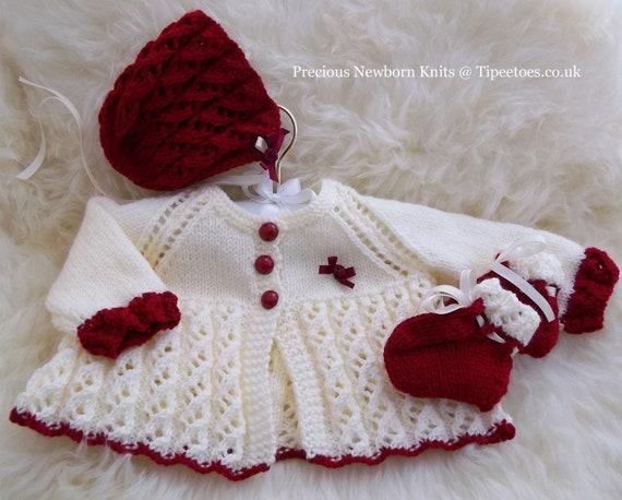 Baby girls or reborn dolls knitting pattern download pdf baby girls or reborn dolls knitting pattern download pdf pattern sweater set matinee coat bonnet booties dt1010fo