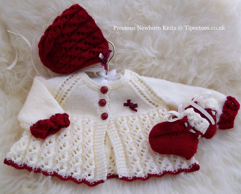 Baby Knitting Patterns for Girls Matinee Set Sweater Set
