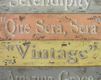 Rustic Cottage Word Inspirational prints. Retro distressed look. Peach yellow green blue. Serendipity, Que Sera Sera, Vintage, Amazing Grace