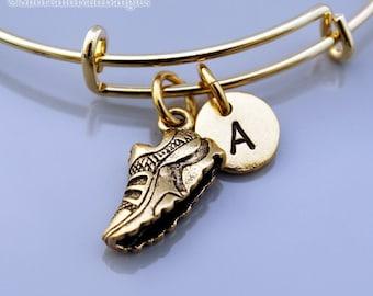 Sneaker Bangle, Sneaker bracelet, Gold sneaker charm, Trainer, Athletic shoes, Running shoes, Expandable bangle, Initial bracelet