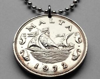 1972 Malta 10 cents coin pendant Maltese ship boat galleon dolphins fish sailing fishing Mediterranean Valleta seas ocean necklace n001846