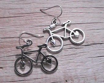 Bicycle charm earrings. bike earrings. bike charms. bicycle charms. charm jewelry. charm earrings