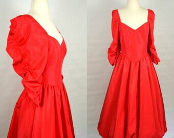 1980s Lipstick Red Formal Dress with Bubble Skirt, Ruched Sleeves, Sweetheart Neckline