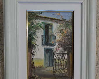Small Oil Painting of European House
