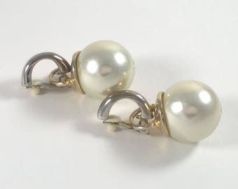 Large White Pearl Clip on Earrings - Oversized Runway Pearls Costume Jewelry 1980s