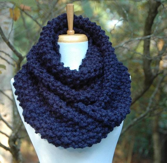 Items Similar To Navy Blue Infinity Scarf Chunky Scarf Knit Scarf