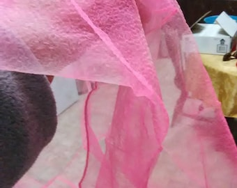 Vintage Pink see through square head scarf.