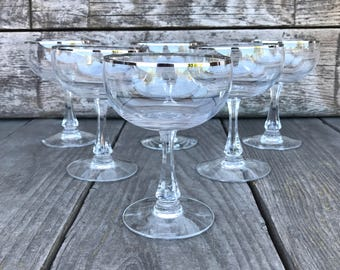 Fostoria Trousseau Coupe Champagne Glasses Tall Sherbet Silver Ringed Stemware Platinum Banded Glassware Wedding Bridal Gift SET OF 6