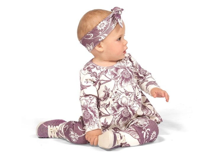 Baby Girl Clothes, Baby Girl Outfit, Baby Girl Leggings, Newborn Girl Flower Outfit, Toddler Girl Outfit, Purple Baby Top Bottom, TesaBabe