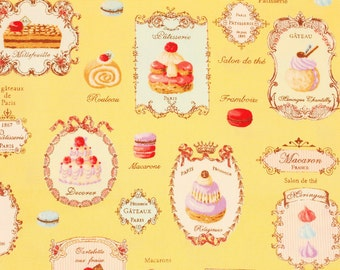 Yuwa Oxford Fabric Sweets Rondeaux, Macaron, French Cakes Patisserie - Japanese Fabric by the Half Yard