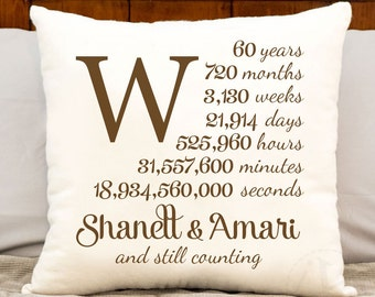 60th anniversary cotton gift - personalized anniversary gift, cotton gift, personalized 60 year anniversary gift, monogrammed, pillow cover