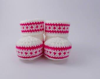 Crochet Baby Booties, Fair Isle Baby Booties, Scandi Baby Booties, Girl's Bootees, Cuff Top Bootees, Baby Shoes, Crochet Shoes, Crib Shoes