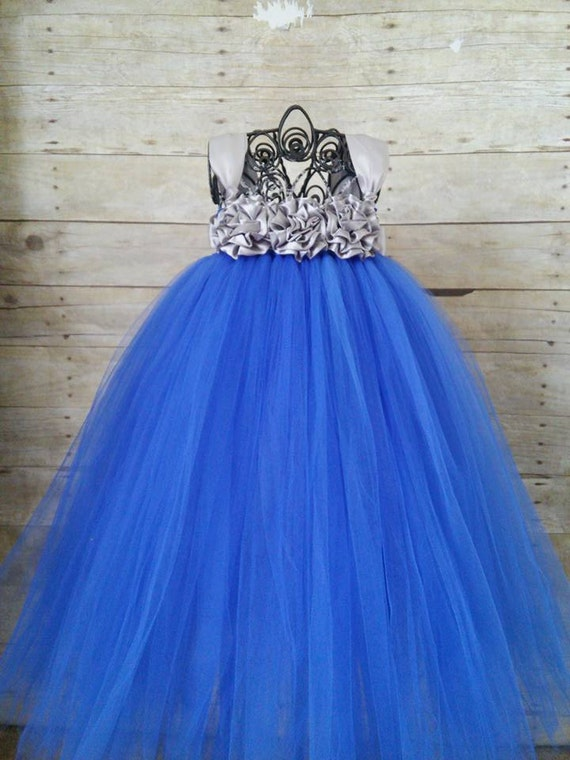 Royal Blue and Silver Flower Girl Dress Royal Blue and Gray