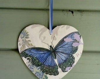 Decoupage hanging hearts