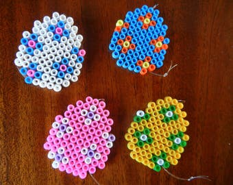 set of 4 decorative Easter eggs with Hama perler