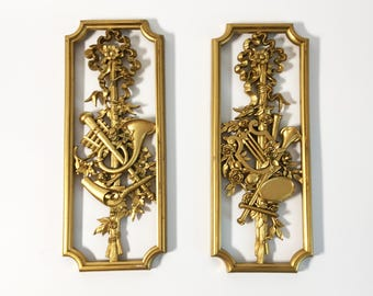 Set of 2 Vintage Gold Ornate Wall Hangings Mid Century - Florals & Musical Instruments Home Decor - 2 Syroco Wall Hangings Dated 1964