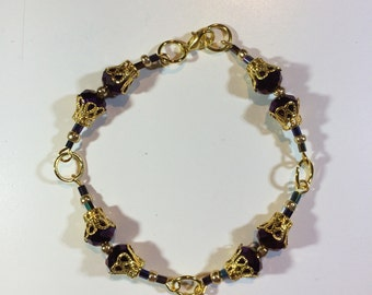 Purple and gold filigree Bead  Bracelet