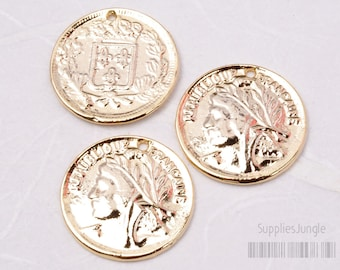 P031-G // Glossy Gold Plated Coin Pendant, 4pcs
