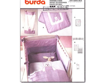 Baby Nursery Decor Pattern Burda 9809 Teddy Bear Theme Quilt Blanket Bumper Pads Towel Infant Sewing Pattern UNCUT