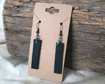 Black Upcycled Leather Drop Earrings with Small Bead