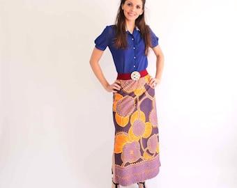 vintage floral maxi skirt - 1960s / 1970s radiant orchid psychedlic purple & orange flower skirt