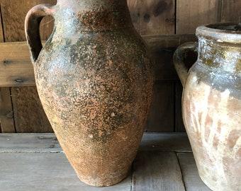 Fantastic Antique French Confit Pot/Part Glazed/ Terra-cotta Jug/1800's
