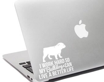 Bulldog gift - Bulldog decal - Bulldog car decal - Bulldog laptop sticker - Bulldog mom -  Bulldog car sticker - Bulldog laptop decal