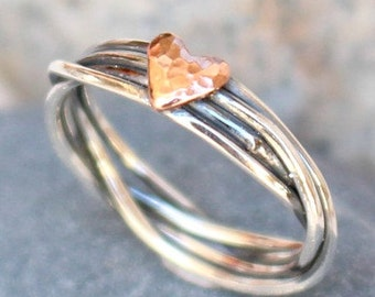 Sterling Silver Ring with Copper heart  Anniversary Gift Ring  Love Ring Mothers Daughters Ring Gift for Her Ring for Her Handmade Ring