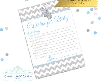 Sweet Dumbo - Wishes for Baby - Size 5X7 **DIGITAL FILE ONLY**