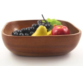 MC Danish Modern Vintage Large Square Teak Salad Bowl Centerpiece Fruit Bowl