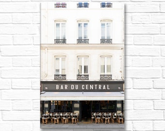 Paris Photography on Canvas - Bar du Central, Gallery Wrapped Canvas, Home Decor, Large Wall Art