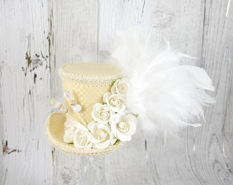 Pale Yellow, Cream, and White Paper Flower Medium Mini Top Hat Fascinator, Alice in Wonderland, Mad Hatter Tea Party, Derby Hat